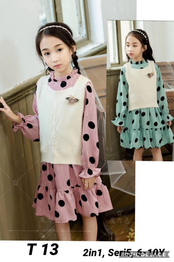 T13 Dress Rompi 2in1 Seri 5 Uk 6 10th Rompi Rajut Warna 4Hijau1Pink @95rb winkionline